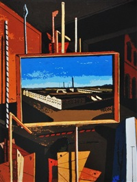 metaphysical interior with large factory, after giorgio de chirico by vik muniz