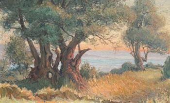 les grands arbres bord de mer soleil couchant by etienne philippe martin