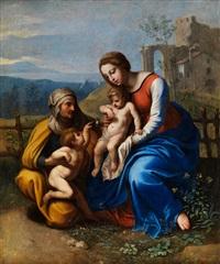 madonna mit dem kind, dem johannesknaben und der heiligen elisabeth by giovanni francesco penni