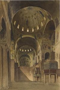 vue du transept nord de la basilique saint-marc à venise by gabriel auguste ancelet
