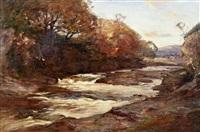 autumnal river landscape by joseph malachy kavanagh