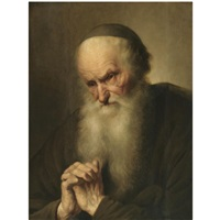 a tronie of an an old man at prayer by jacques des rousseaux