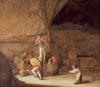 campesinos fumando y bebiendo en un pajar by bartholomeus molenaer
