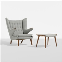 papa bear chair and ottoman by hans j. wegner