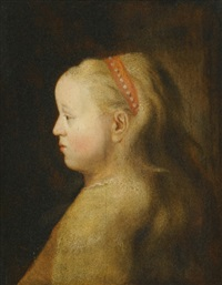 portrait of a young girl, head and shoulders, wearing a red headband by jan andreas lievens the younger