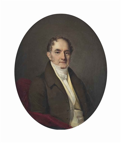 portait of mr m favre half length in a green coat and cravat in a painted oval by firmin massot