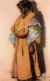 jeune femme en jaune by emile aubry