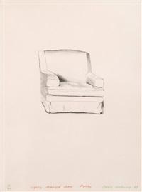slightly damaged chair, malibu by david hockney