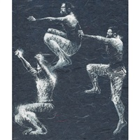 jumping figures (muybridge series) by john howard gould