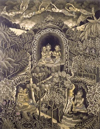 the temptation of arjuna by the heavenly nymphs (widadaris), while his servants, twalen and mrdah, surrender to temptation by ida bagus made nadera