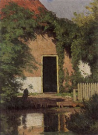 a cottage by a pont by wilhelm christiaan constant bleckmann