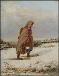 indian woman on snowshoes with pipe by henry metzger