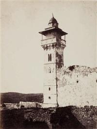 vue du minaret sud-ouest du haram (tombeau des patriarches) by henri sauvaire