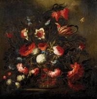 corbeille de fleurs sur un entablement by josé de arellano