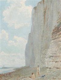 the cliffs of france, nude bathers on the shore by louis ginnett