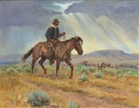 cowboy in a storm by joe neil beeler