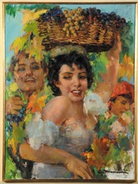 giovane con cesto d'uva by cipriano mannucci