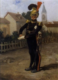 offizier auf einer dorfstraße by eugène cottin