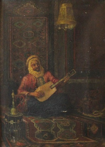 oriental gentleman playing a string instrument by louis paul dessar
