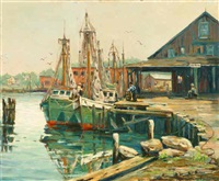 fishing boats in harbor - rockport area (?) by william couper
