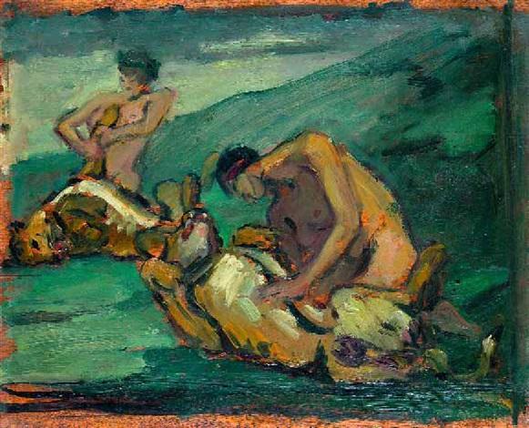 herkules im kampf mit dem löwen by leo von könig