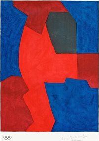 composition bleue, rouge et noire (for the olympic games in munich 1972) by serge poliakoff