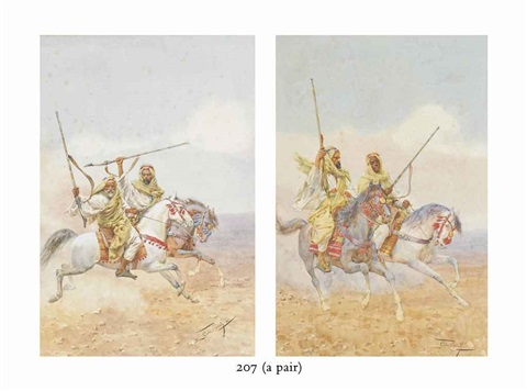 arabic warriors on the charge another similar pair by giulio rosati