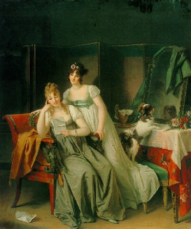 two ladies in an interior reading a letter by marguerite gérard