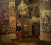 intérieur d'église orthodoxe by olga belokovskaya