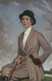 portrait of miss jean wills, seated three-quarter-length, in a brown riding costume, a crop in her right hand, in an extensive landscape by john dobbie