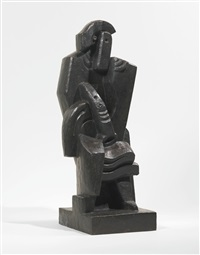 seated man with clarinet by jacques lipchitz