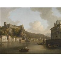 view of the chateau de pierre-encise on the rhone, lyon by william marlow