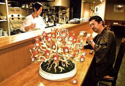 ai chan bonsai pine at japanese style restaurant collaboration wai kato by makoto aida