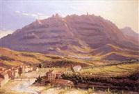 paisaje catalán con la montaña de monserrat by domingo soler gili