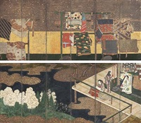 whose sleeves? - tagasode (pair of six-panel screens) by tohaku hasegawa