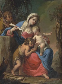 the holy family with the infant saint john the baptist - a bozzetto by gaetano gandolfi
