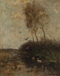 ducks on a pond by willem maris