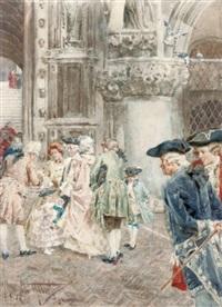gossiping outside a venetian church by giuseppe vizzotto alberti