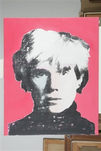 portrait d'andy warhol (diptych) by victor hasch