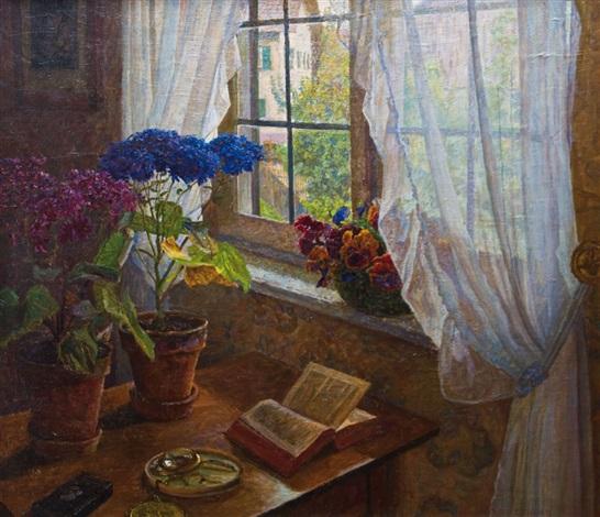 Fenster Paul interieuransicht mit blumen am sonnendurchfluteten fenster by paul