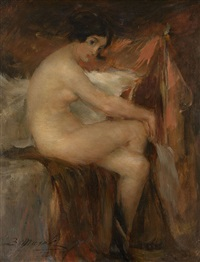 sitting nude by vitaly gavrilovich tikhov