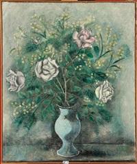 vase de roses et de mimosas by sei koyanagui