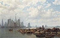 a busy day near the vlothaven on the ij, amsterdam by johan conrad greive