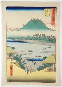série des 53 stations du tokaido, oban tate-e, station 16, vue de la rivière fuji depuis la colline d'iwabuchi à kambara by ando hiroshige