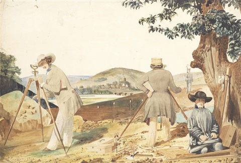 surveyors at work on the french railway by louis joseph grosset