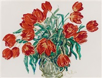 rote tulpen in vase by christian rohlfs