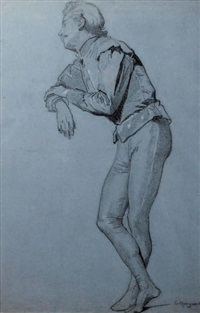 homme debout accoudé by charles monginot