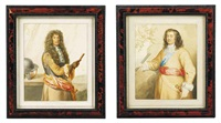 portrait of the duke of schomberg (c. 1615-1690) (after sir peter lely) (+ portrait of george monck, earl of albemarle (1608-1670); pair) by george perfect harding