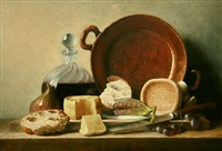 still life with cheese and figs by stuart morle