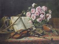 a still life with mandolin, violin, bag pipes, a french horn, and a drum by charles antoine joseph loyeux
